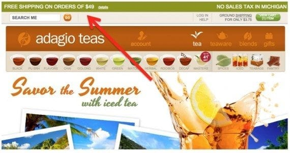 The rules and policies of an ecommerce business are reflected in its backend code. Offering free shipping for minimum purchase amounts, as in this example from Adagio Teas, must be written into the code.