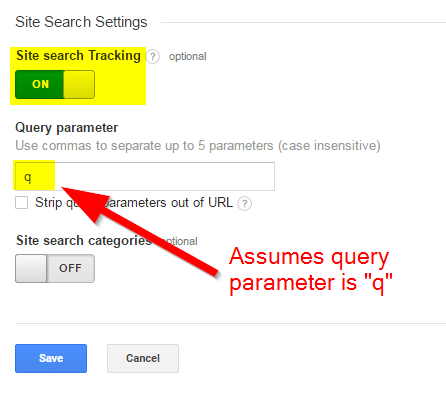 "In Google Analytics, so to Admin > View Settings. Set ""Site search Tracking"" to ""On"" and enter your query parameter."