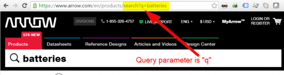 "The search parameter for Arrow.com is ""q""."