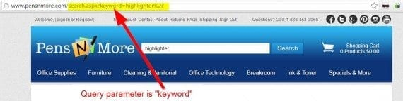 """For Pensnmore.com, the search parameter is """"keyword""""."""