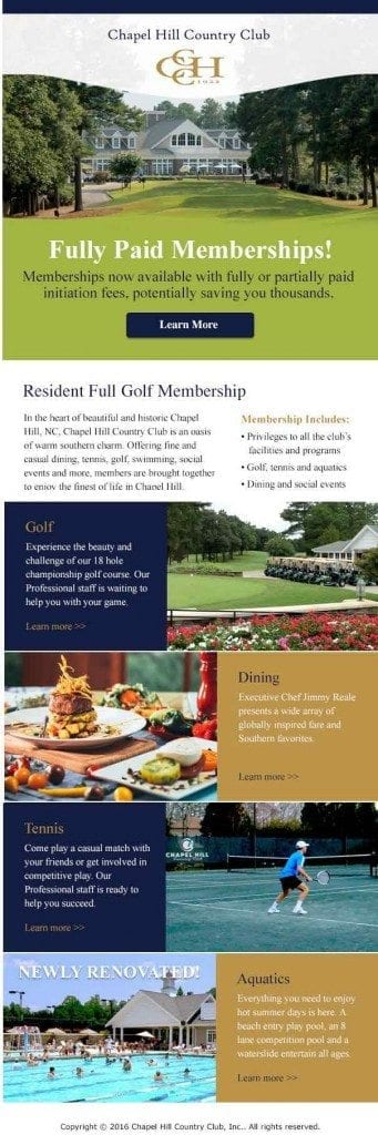 This email from Chapel Hill Country Club contains different areas of interest: Golf, Dining, Tennis, and Aquatics.