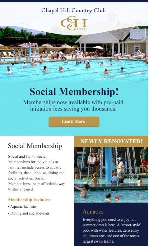 Recipients who clicked on the Aquatics section of the original email received this follow-up, which is more targeted.
