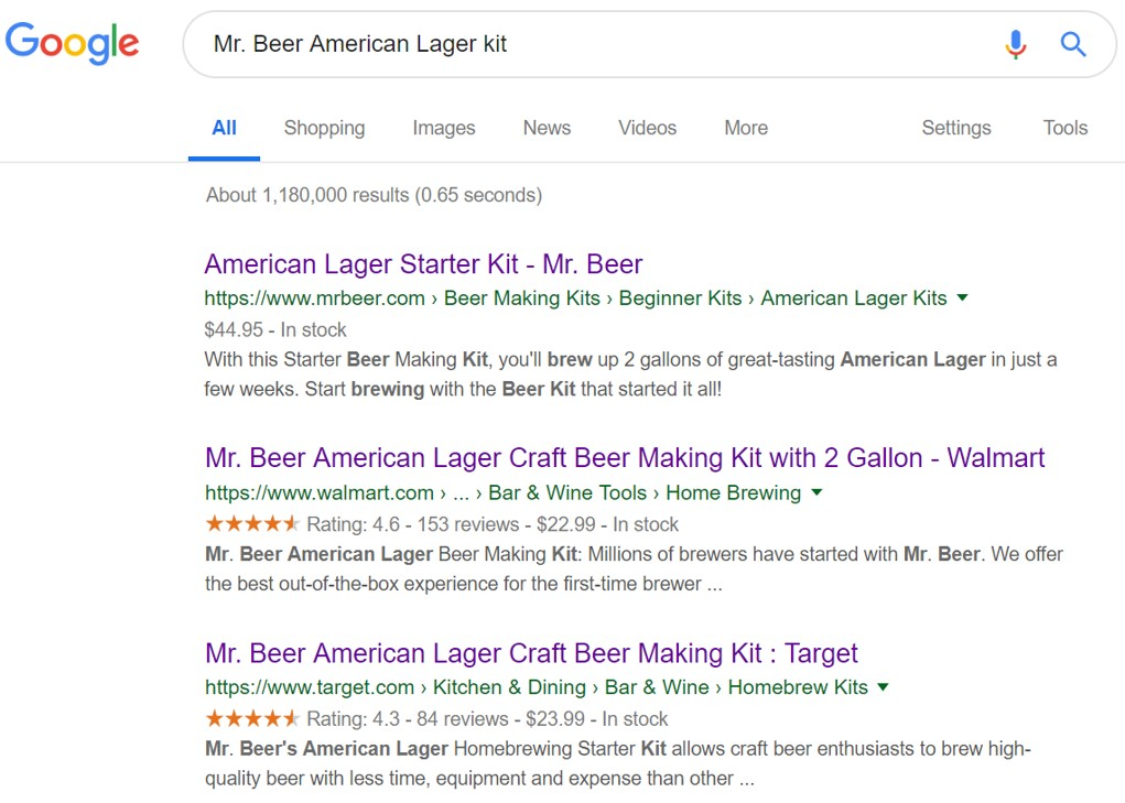 "Google search results for ""Mr. Beer American Lager kit."" The first listing, from MrBeer.com, has no rich results. The next two listings, from Walmart.com and Target.com, include rich results."
