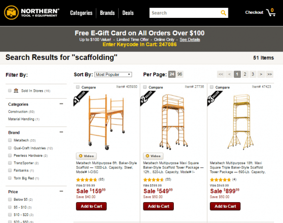 "NorthernTool.com's facet search, on the left, includes ""Categories,"" ""Brand,"" and ""Price."""