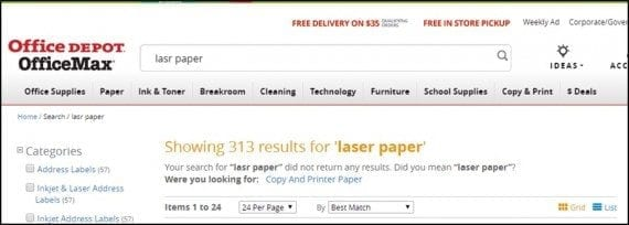 """In this example from OfficeDepot.com, """"lsr paper"""" was corrected, to display """"laser paper,"""" the correct spelling."""