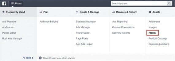 "In the Facebook ads manager, go to the ""Pixels"" section, click the hamburger menu in the upper left, and select ""Pixels."""