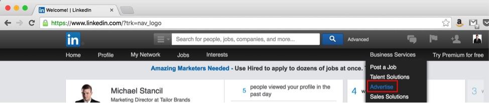 Finding the LinkedIn ads
