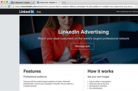 LinkedIn ads' home page.