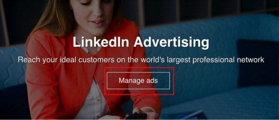 """Click """"Manage ads"""" to get started."""
