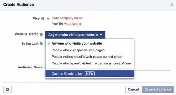 """Click """"Anyone who visits your website"""" to see the """"Custom Combination"""" setting."""
