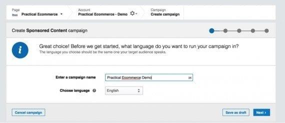 Create a campaign name and choose the language.