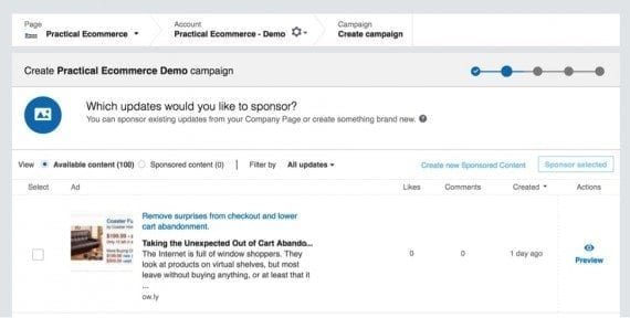 """Choosing """"Sponsor Selected"""" and selecting a post from Practical Ecommerce."""