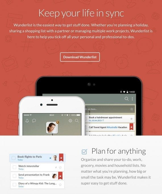 Wunderlist home page