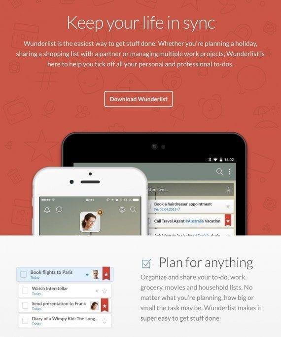 Wunderlist home page