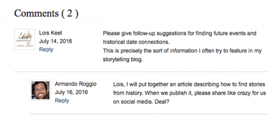 Lois Keel, a reader, asked how to find stories from history.