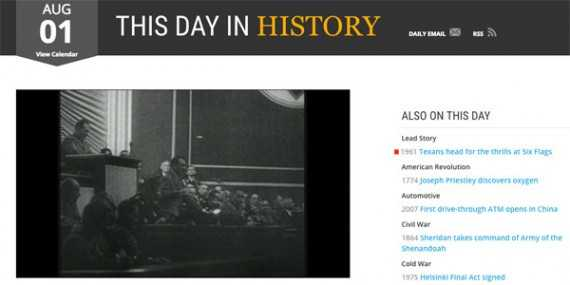 "The History channel's ""This Day in History"" section is a good source of story ideas."