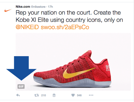 The Nike Store is an online retailer using animated GIF images in its social media posts.