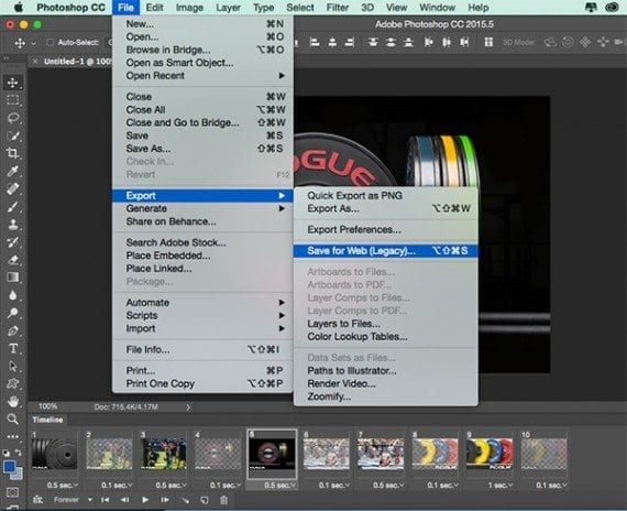 Use Photoshop's legacy Save for Web feature to save your animated gif image.
