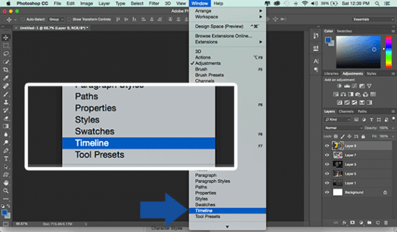 To open the Timeline panel, select Timeline from Photoshop's Window menu.