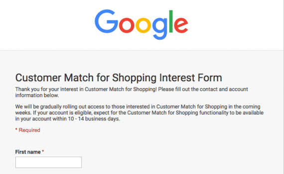 Google Shopping's Customer Match feature is currently available in open beta — you must apply to use it.