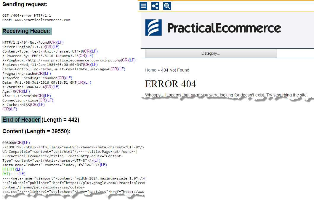 The server header status code and sample HTML for a hypothetical error page on Practical Ecommerce
