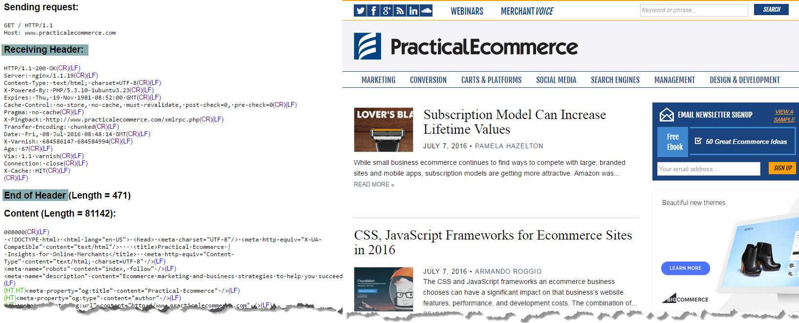 The server header status code and sample HTML for the home page of Practical Ecommerce. Click image to enlarge.