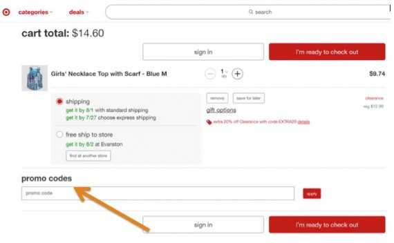 Target uses a promo code field in its checkout process.