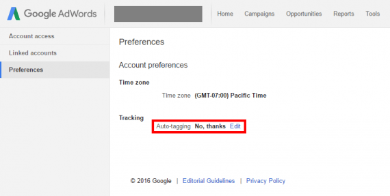 "The default option in AdWords for auto-tagging is ""No, thanks."""