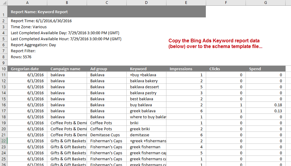 Copy all of the data into the schema template that you saved to your computer in the instructions for setting up Google Analytics.
