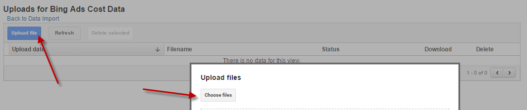 "Click on ""Upload File"", then ""Choose Files."""