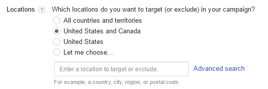 "In the Locations section for Shopping campaigns, the default selection is ""United States and Canada."""