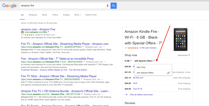 """Google is testing a new filter that appears on Shopping ads, for advertisers with """"Special Offers,"""" as shown on the second drop-down menu, on the right. Click image to enlarge. Source: Search Engine Land."""