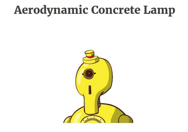 "The page for this hypothetical product, ""Aerodynamic Concrete Lamp,"" has just one image."
