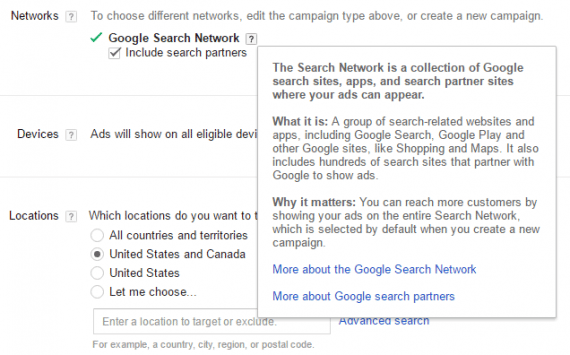 "When setting up an AdWords Shopping campaign, the checkbox for ""Include search partners"" is selected by default."