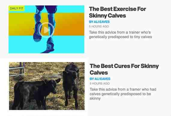 Let the magazine headlines inspire your content. In this example, an article about calves becomes an article about a different sort of calves. <em>Calf photo: Regina on Flickr.</em>