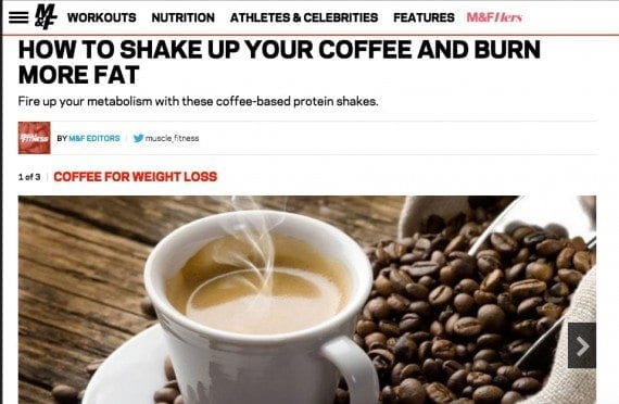Men's Health magazine publishes coffee-related content and then shares the content on September 29 in honor of National Coffee Day.