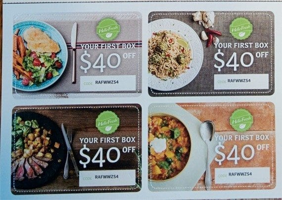 Four perforated discount cards make it easy to refer HelloFresh.