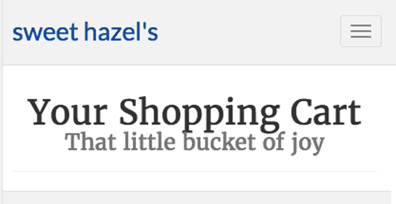 The shopping cart page displays the content header. The custom CSS declarations center the text and put the small subtitle on its own line.