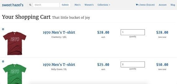 On larger screens, Bootstrap's grid lays out the products in the cart like a table.