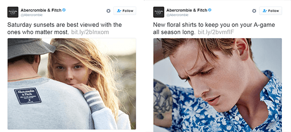 Abercrombie & Fitch includes images in nearly every tweet.