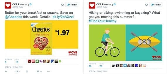 CVS Pharmacy tweets interesting content, such as questions and offers.
