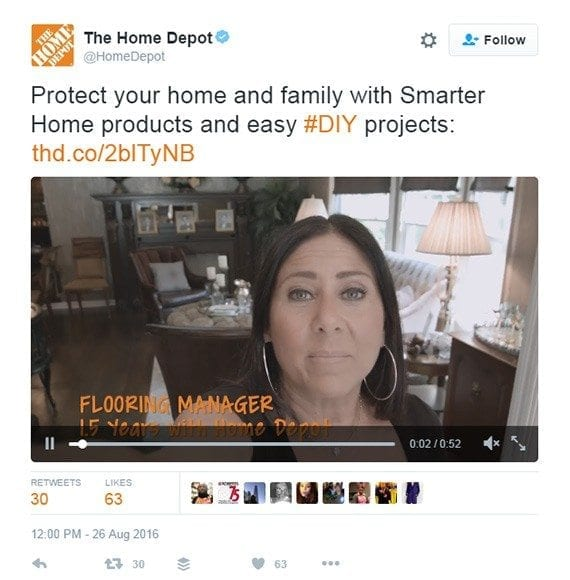 The Home Depot uses images and video in its tweets.