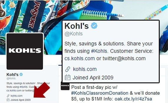 Kohl's has been marketing on Twitter since April 2009.