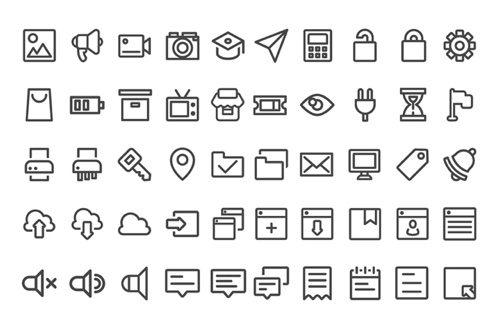 100 icônes d'interface d'interface utilisateur gratuites avec 100 icônes.