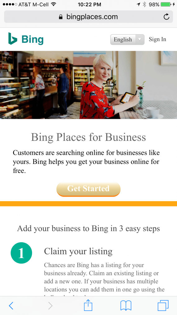 Bing Places for Business is where you'll want to claim your listing, which will appear on Bing search results.
