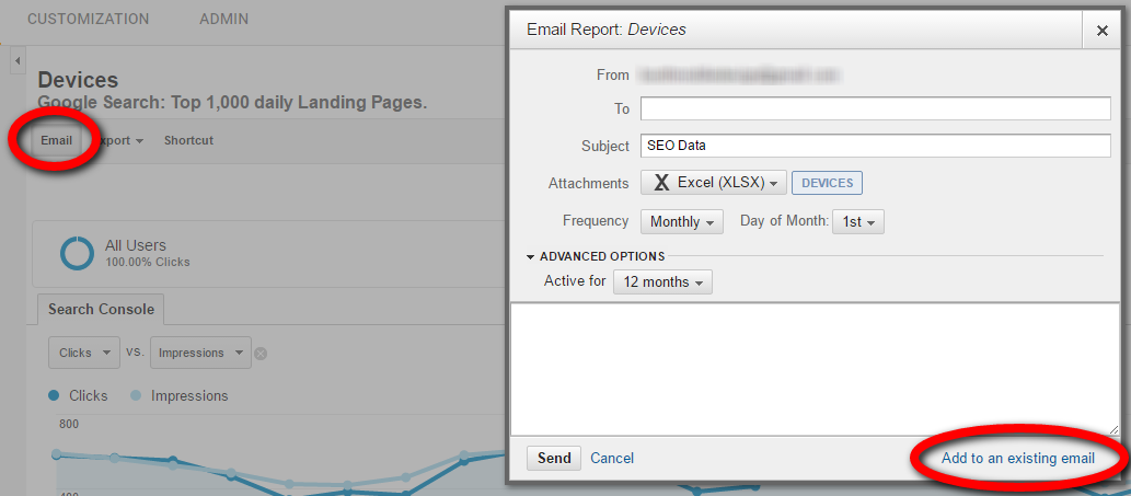 """Set up scheduled emails to export reports regularly, such as each month. Do this using the """"Email"""" tab at the top of each report page. To attach all four reports in a single email, select """"Add to an existing email"""" at the lower right. Click image to enlarge."""