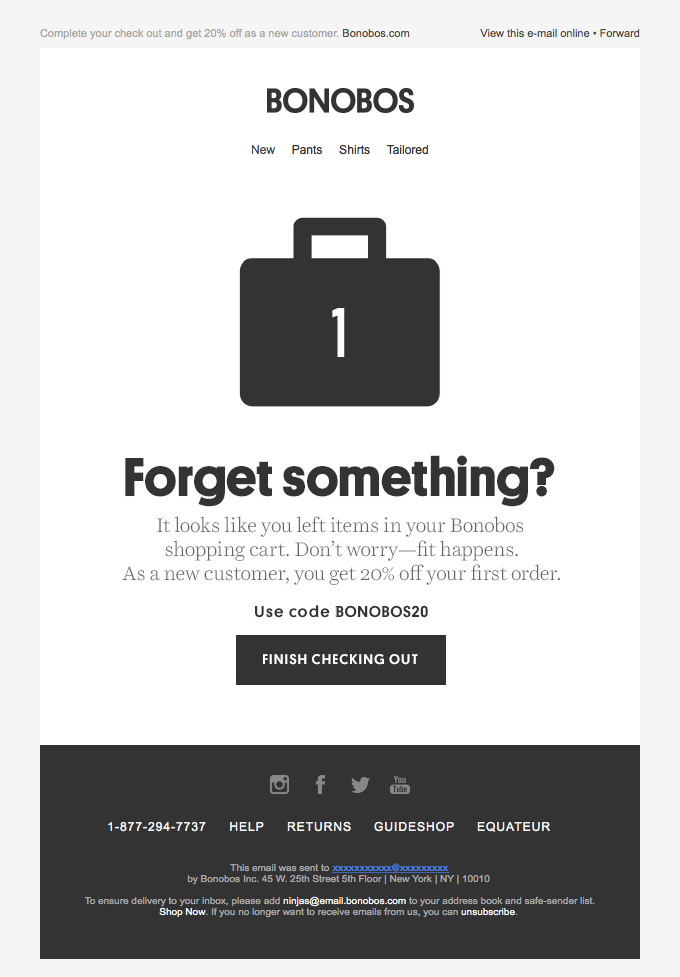 Bonobos sends a simple cart abandonment email