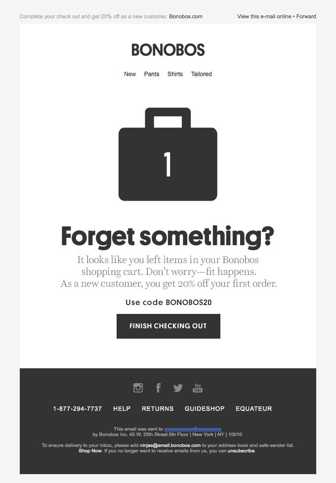 Bonobos sends a simple cart abandonment email