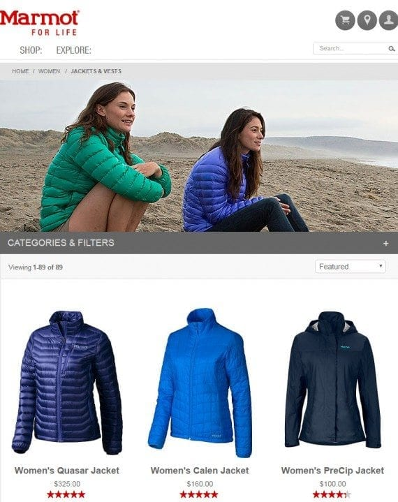Marmot's Jackets and Vests category page, without a prominent heading.
