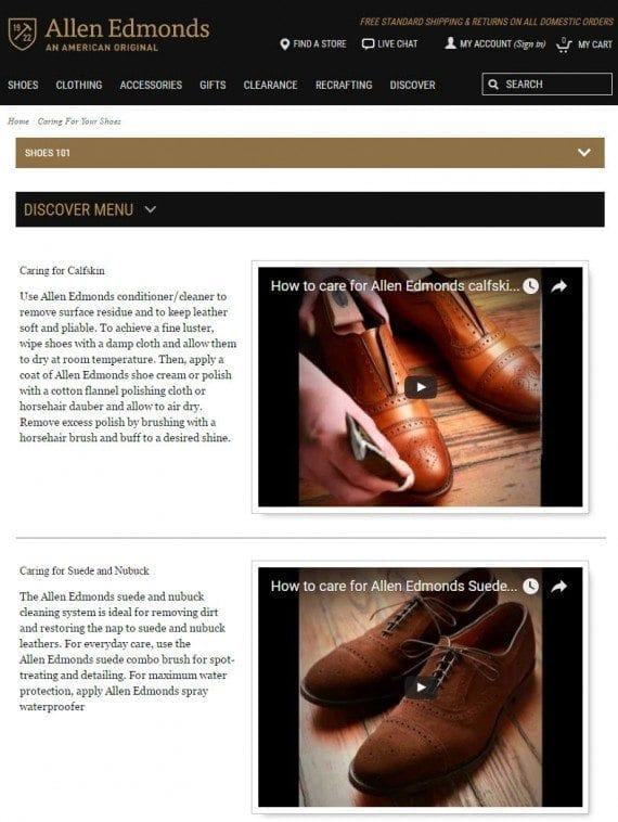 "Allen Edmonds' article page, ""Caring for Your Shoes,"" ranks but doesn't pass searchers to conversion."